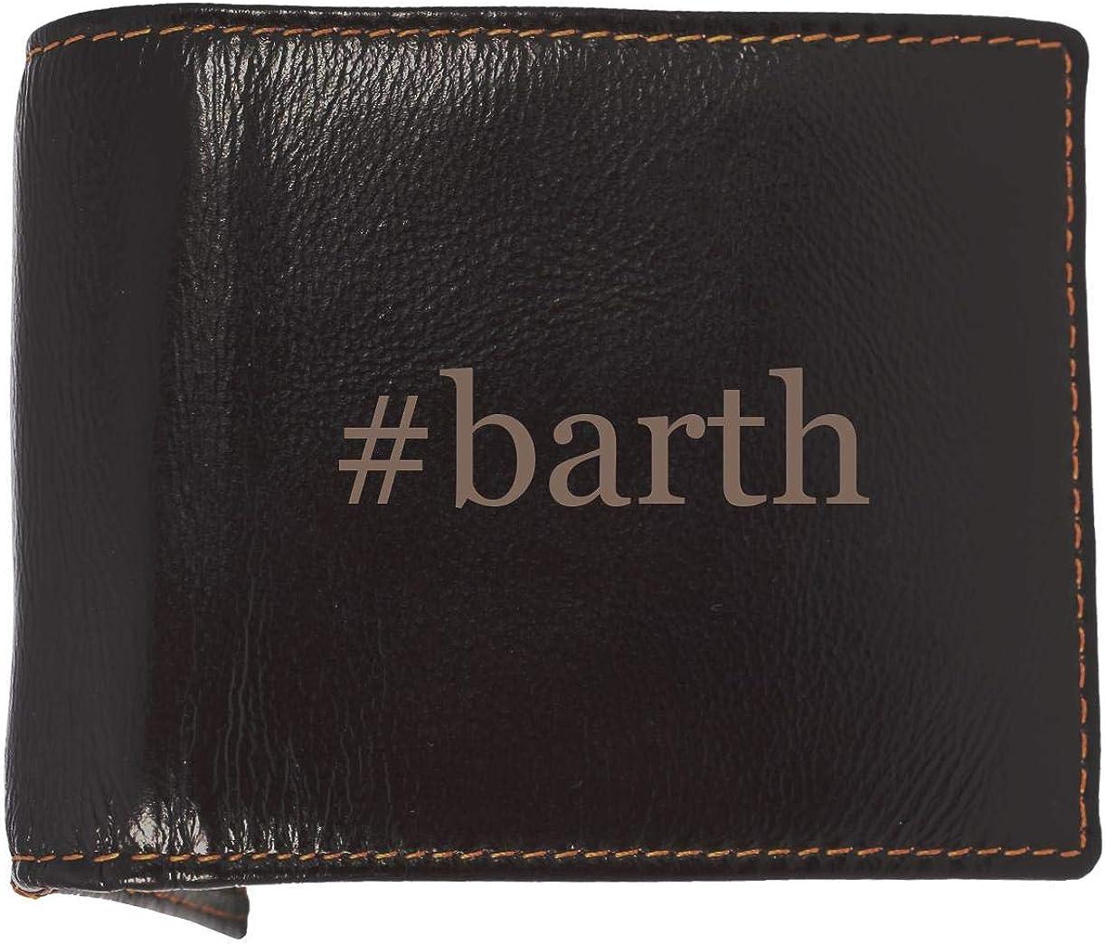 #barth - Soft Hashtag Cowhide Genuine Engraved Bifold Leather Wallet 61RTKBISppL