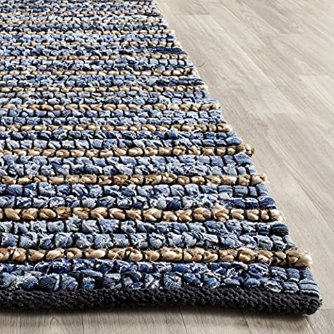 Safavieh Cape Cod Collection CAP363A Hand Woven Blue and Natural Jute and Cotton Area Rug (2' x 3') (Cotton Area Rugs 2x3)