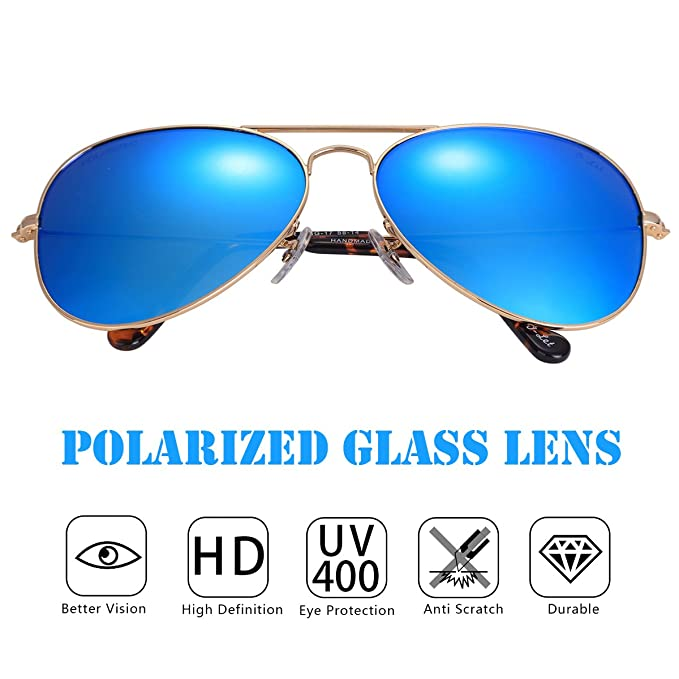 03d00e58487 O-LET Polarized Aviator Sunglasses for Women Men Cycling Fishing with Glass  Polarized