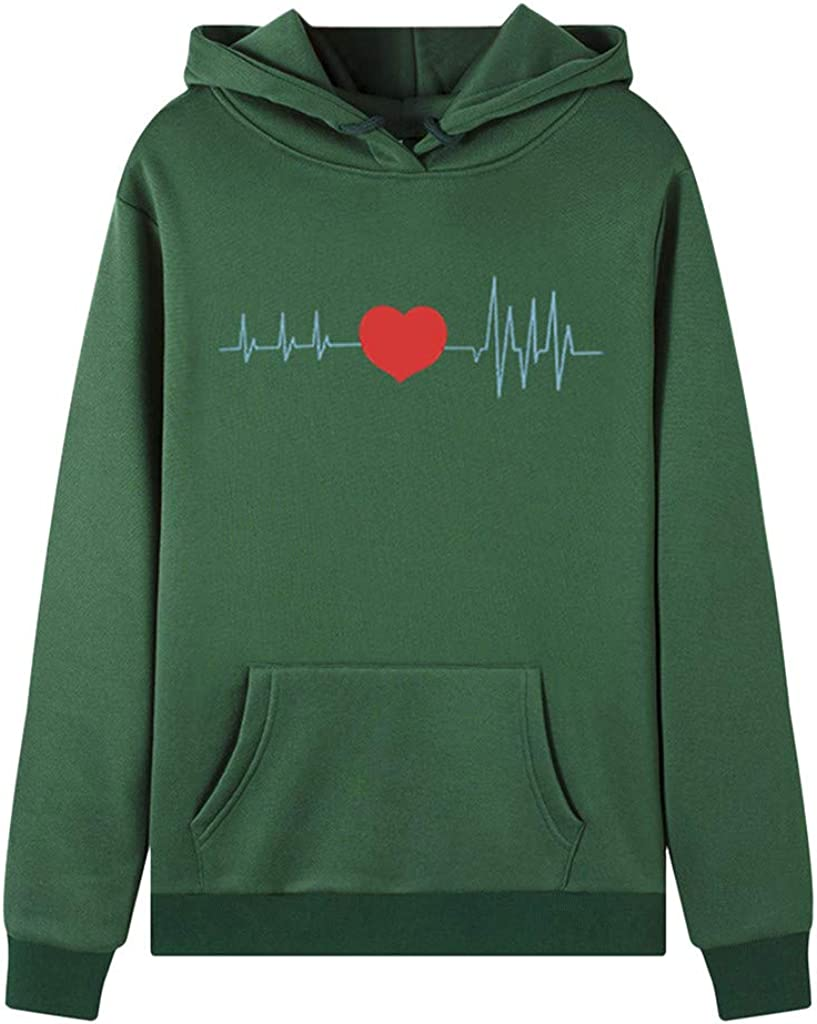 Jushye Womens Love Heart Print Long Sleeve Pocket Drawstring Hoodie Jumper Sweatshirt Pullover Tops