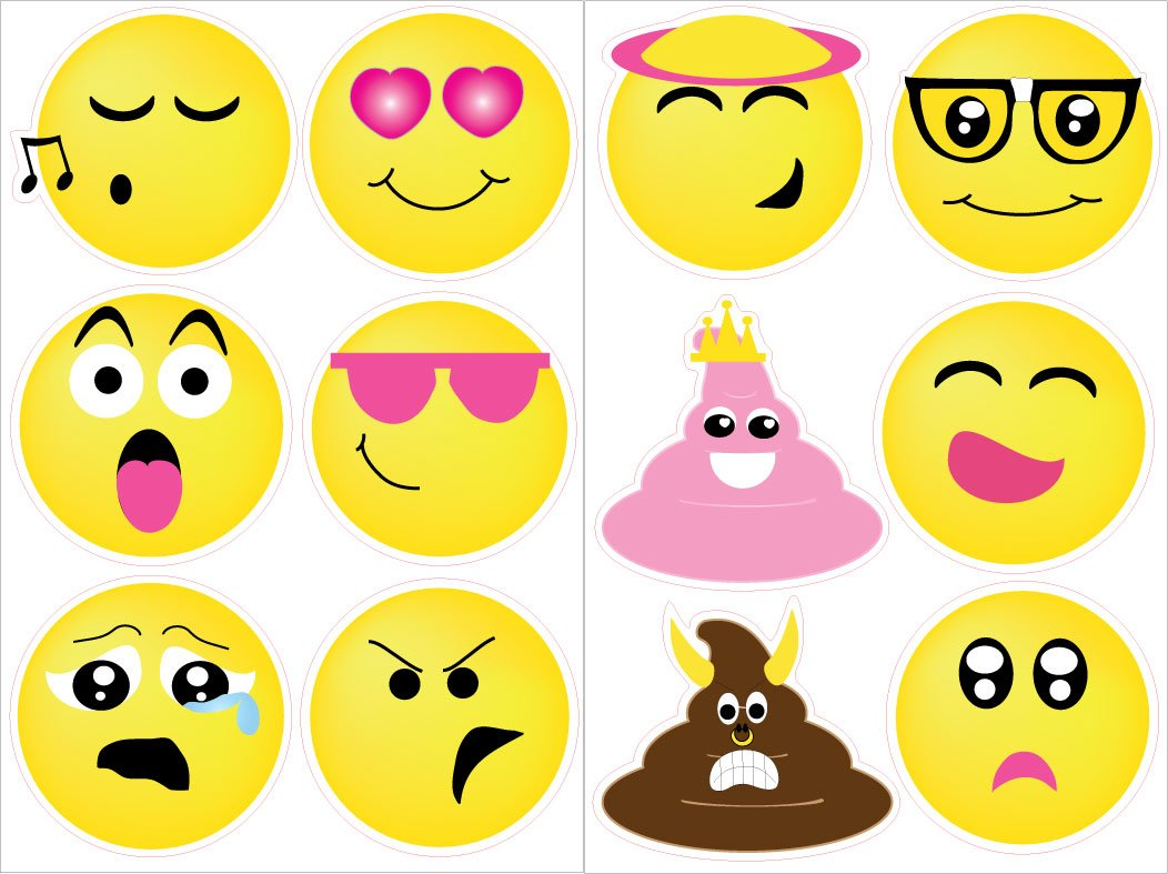 Amazon.com: Emoji Wall Stickers Decals / Emoji Room Decor and Party ...