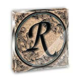 Vintage Letter R Initial Black Tan Acrylic Office Mini Desk Plaque Ornament Paperweight