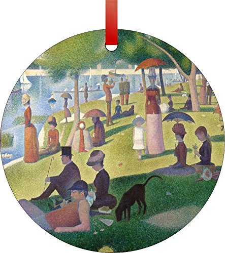 Georges Seurat's A Sunday Afternoon On The Island Of La Grande Jatte Painting-Double-Sided Round Shaped Flat Aluminum Christmas Holiday Hanging Tree Ornament. Made in the USA! - Sunday Afternoon On The Island La Grande Jatte