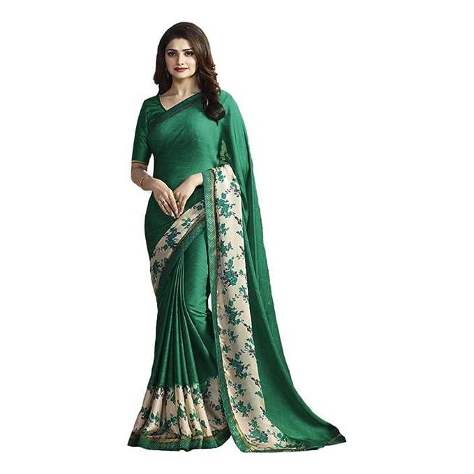 4efda144242 Amazon.com  Floral Print Daily Wear Silk Saree (Green)  Clothing