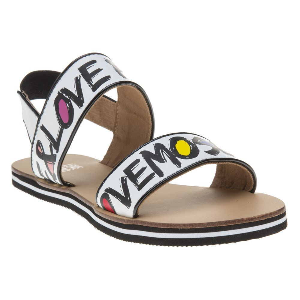 Love Moschino 2 Strap Love & Peace Womens Sandals White