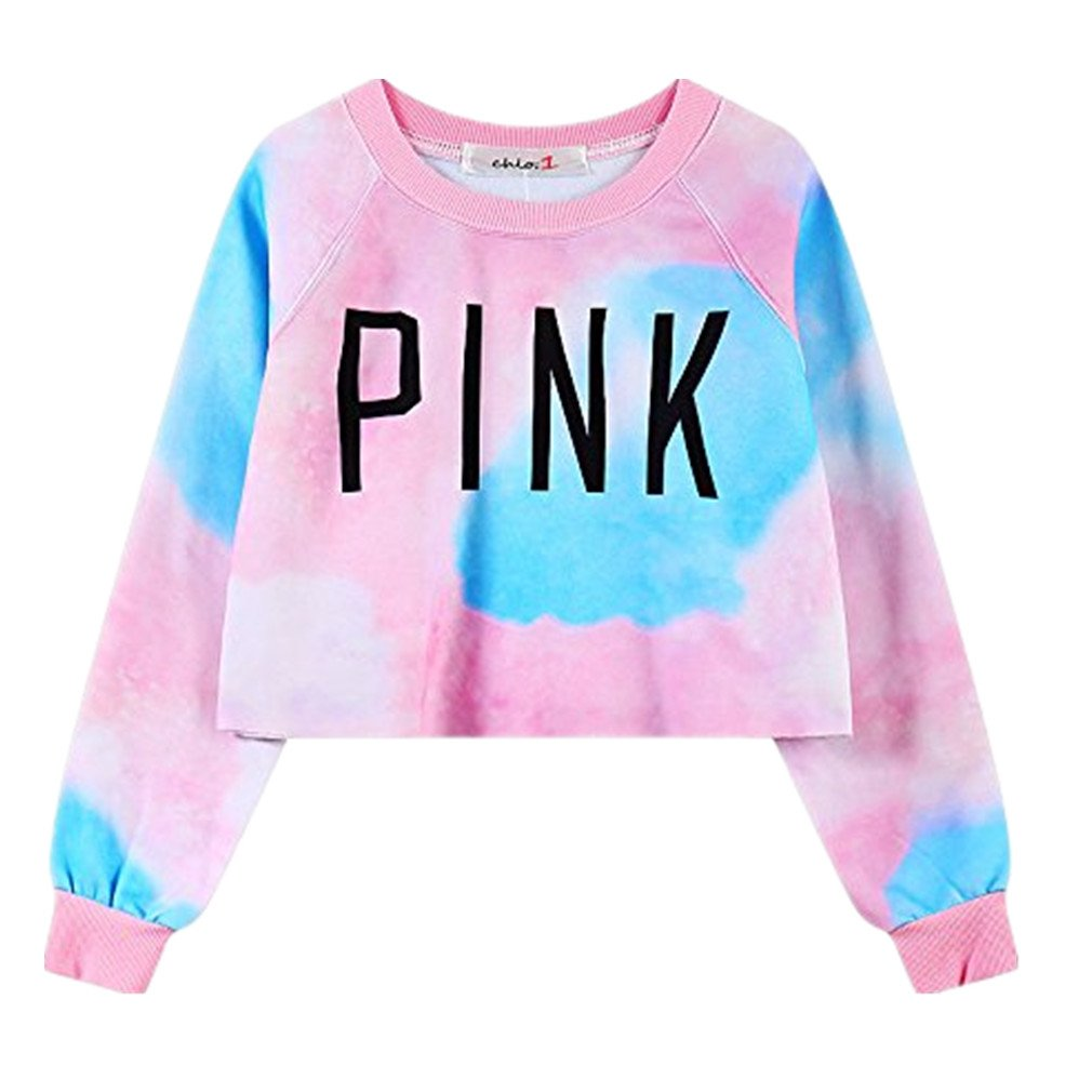 Amazon.com: Voglee Women\'s Colorful Tie Dye and Pink Letters Print ...