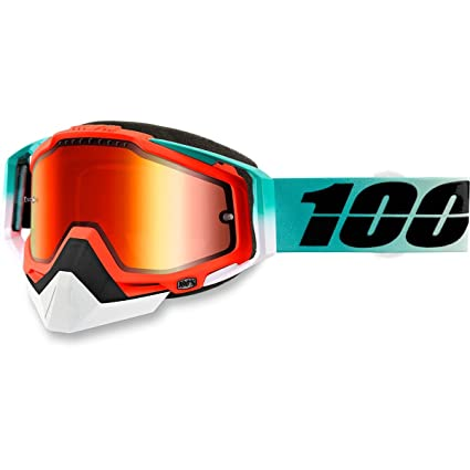 737c13b6aef Amazon.com  100% Racecraft Cubica Snow Goggles Mint Mirrored Lens   Automotive