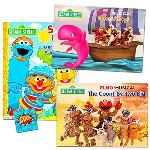Sesame Street Elmo Pop Up Book Set For Kids Toddlers (Set of 2 Pop Up Books, 1 Coloring Book, (Baby Sesame Street Party Supplies)