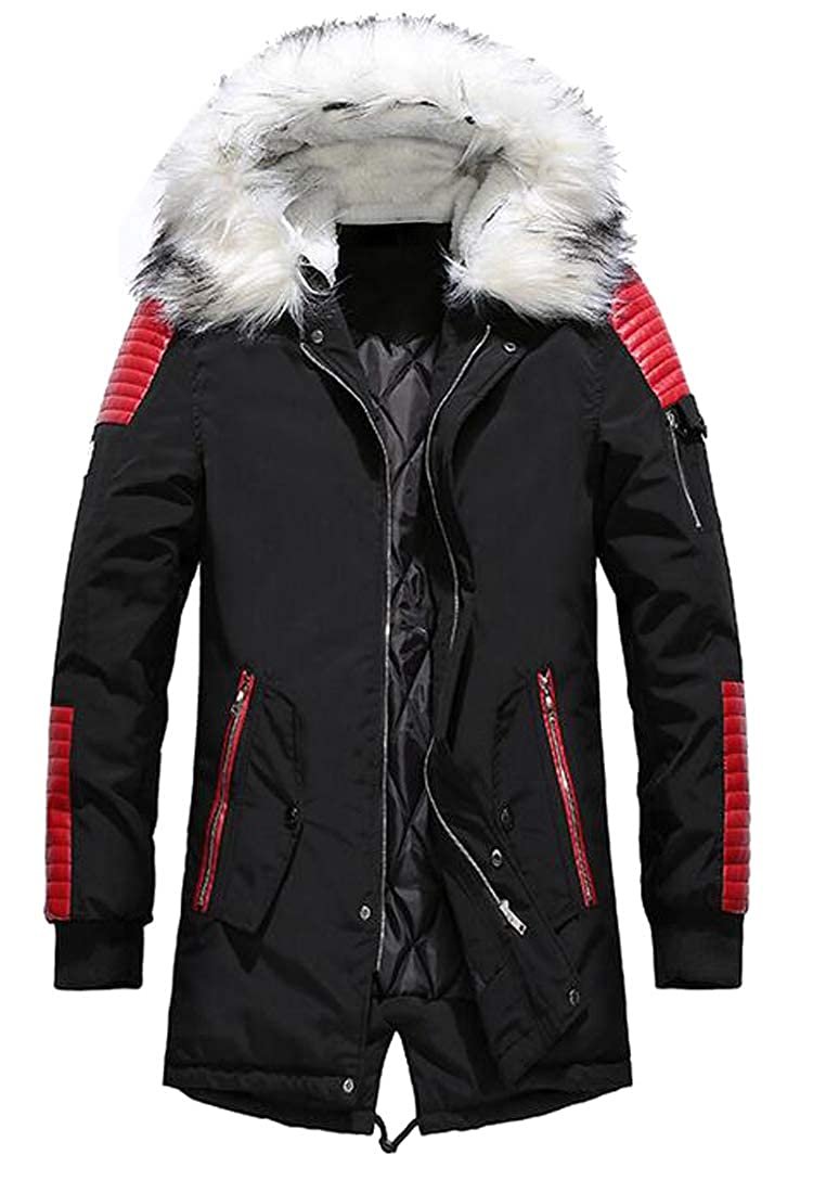 ARTFFEL Mens Plus Size Faux Fur Hooded Thermal Longline Quilted Jacket Parka Coat Outerwear