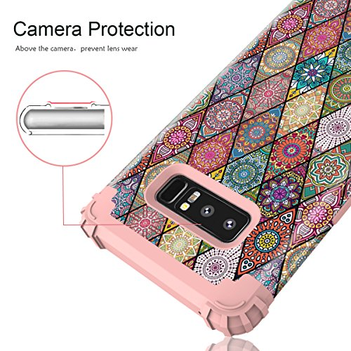 Galaxy Note 8 Case, Hocase Heavy Duty Shockproof Hybrid Hard Shell Silicone Bumper Protective Case with Cute Mandala Flower Pattern Design for Samsung Galaxy Note 8 (2017) - Rose Gold Pink Photo #8
