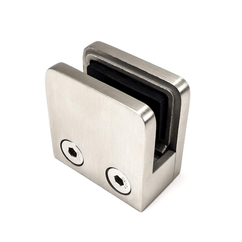 Klemmhalter Viereck 45x45mm V2A poliert Flach Plattenst/ärke f/ür 6mm Platten