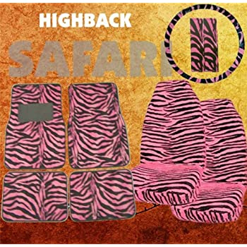 Amazon Com 9pc Safari Pink Zebra Print Car Floor Mats