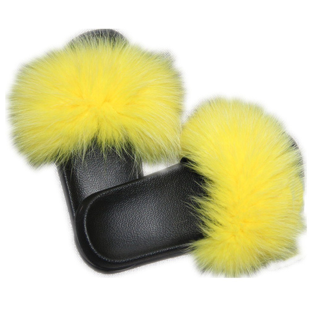 Women Real Fox Fur Feather Vegan Leather Open Toe Single Strap Slip On Sandals Multicolor