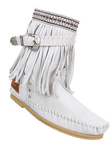 Damen Stiefeletten Schuhe Boots Designer Schlüpfstiefel mit Fransen Creme 35 Uh5sX