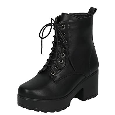 Womens Round Toe Lug Sole Military Combat Ankle Booties Boot 8 Black PU