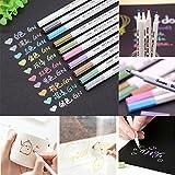 Gotian 10Pcs Color Pen Metallic Pencil Set, Water Color Sketch Marker Album Brush Pen