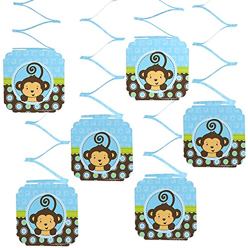 Big Dot of Happiness Monkey Boy - Baby Shower or Birthday Party Hanging Decorations -