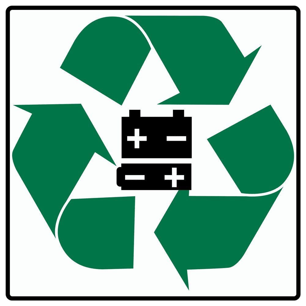 Compliancesigns Vinyl Batteries Recycle Symbol Label 6 X 6 In With