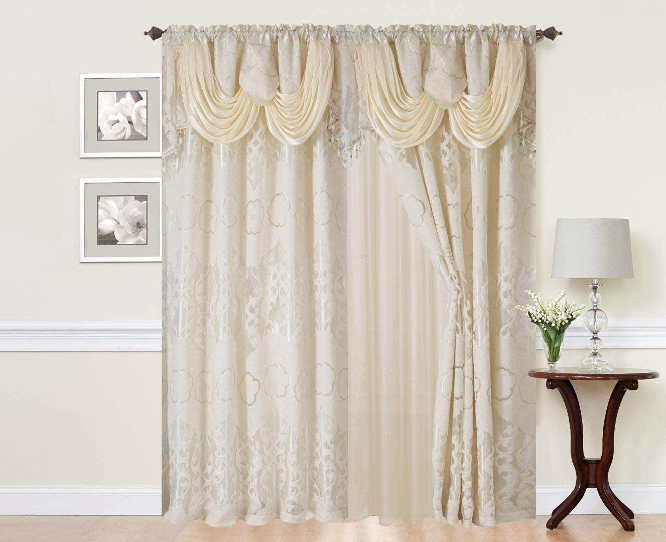 Sapphire Home Rod Pocket Window 84 Inch Length Curtain Drape Panels w Attached Valance Sheer Backing 2 Tassels – Traditional Floral Curtain Drape Set for Living and Dining Rooms, Julia Beige