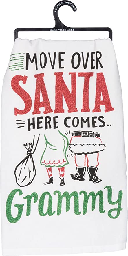 Move Over Santa Here Comes Grammy F143055 Primitives by Kathy Glitter Kitchen Towel