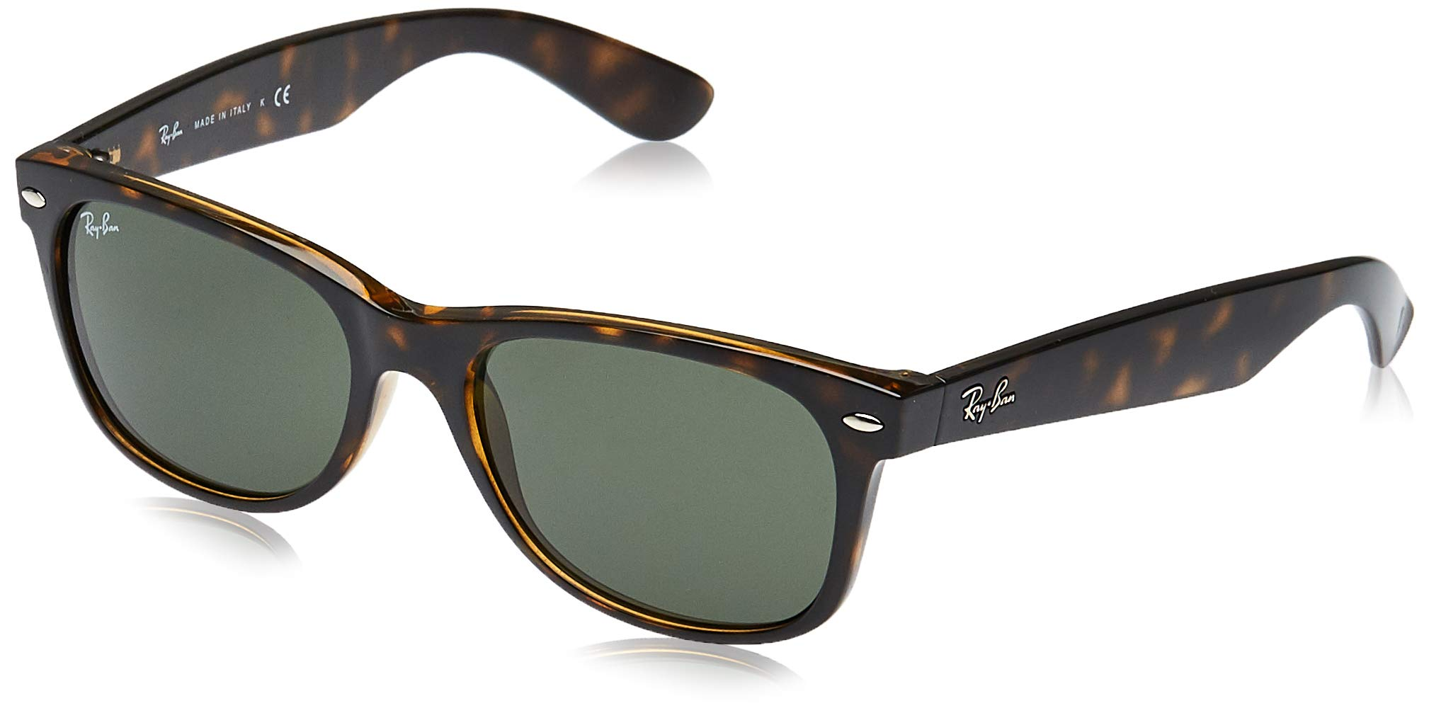 RAY-BAN RB2132 New Wayfarer Sunglasses, Tortoise/Green, 55 mm by RAY-BAN