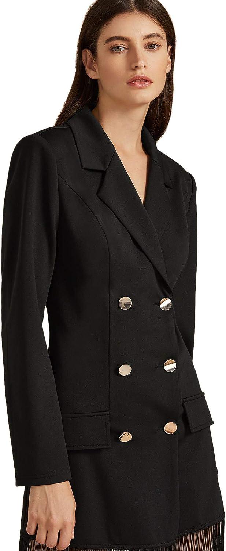 MAKEMECHIC Womens Elegant Plaid Wrap Belted Waist Long Sleeve Shawl Collar Longline Blazer