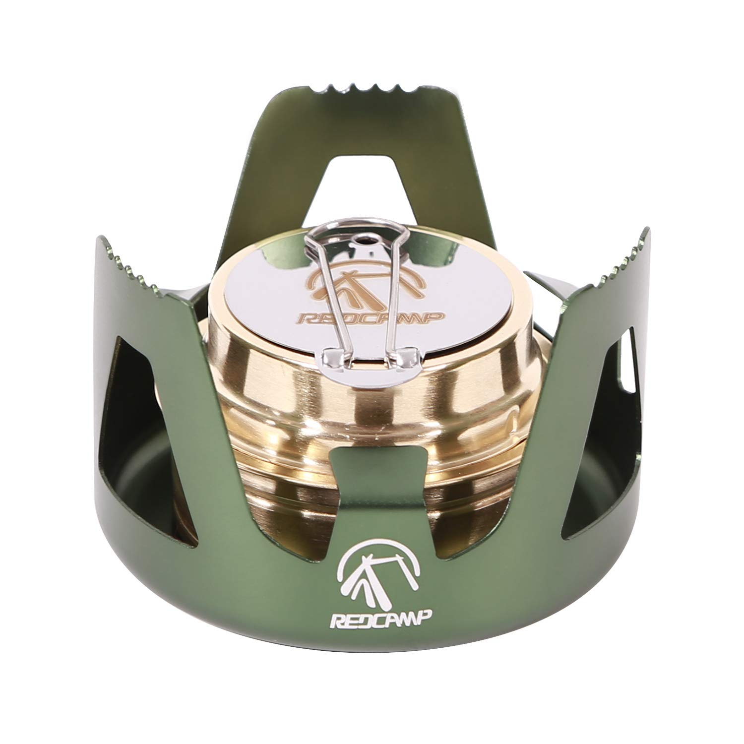 REDCAMP Mini Alcohol Stove for Backpacking, Lightweight Brass Spirit Burner with Aluminium Stand for Camping Hiking, Green by REDCAMP