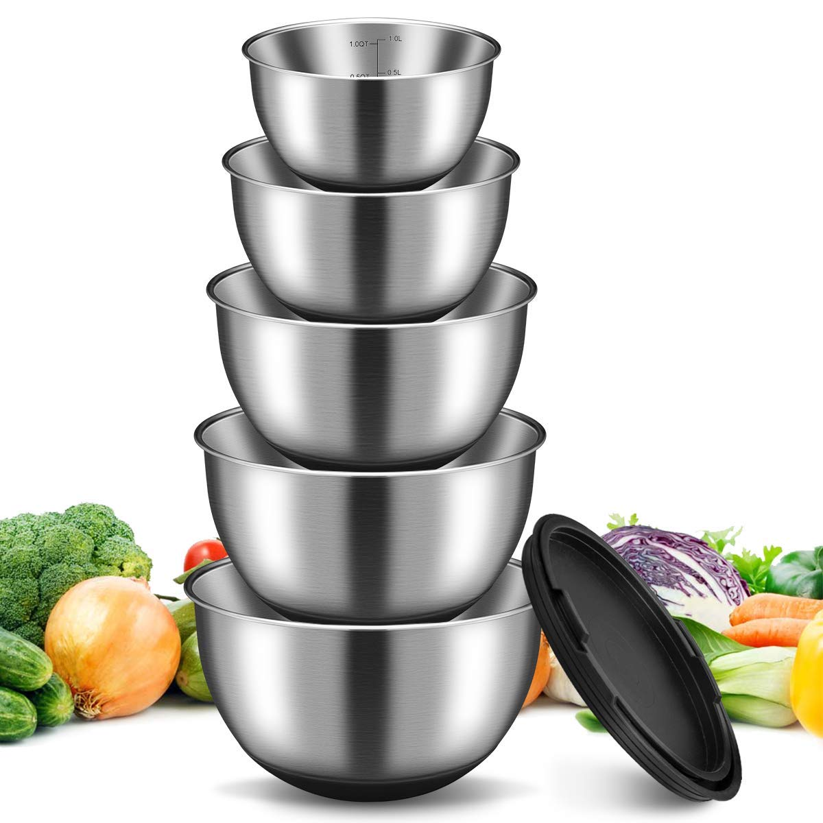 Stainless Steel Mixing Bowl With Lids 5 Set, GEEMAY Non-Slip Silicone Bottom Mixing Bowls, for Beating, Stackable Storage, Measurement Marks, Includes 1 QT, 2 QT, 2.5 QT, 3 QT, 4.5 QT