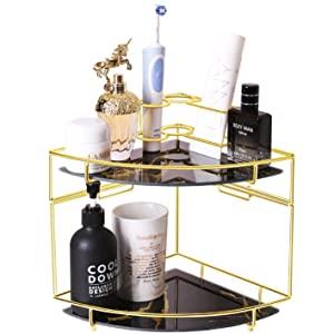 Z PLINRISE Makeup Organizer, 2-tier Bathroom Corner Cosmetic Shelf for Dresser and Countertop, Stackable Wire Vanity Storage Basket with Removable Glass Tray, Gold