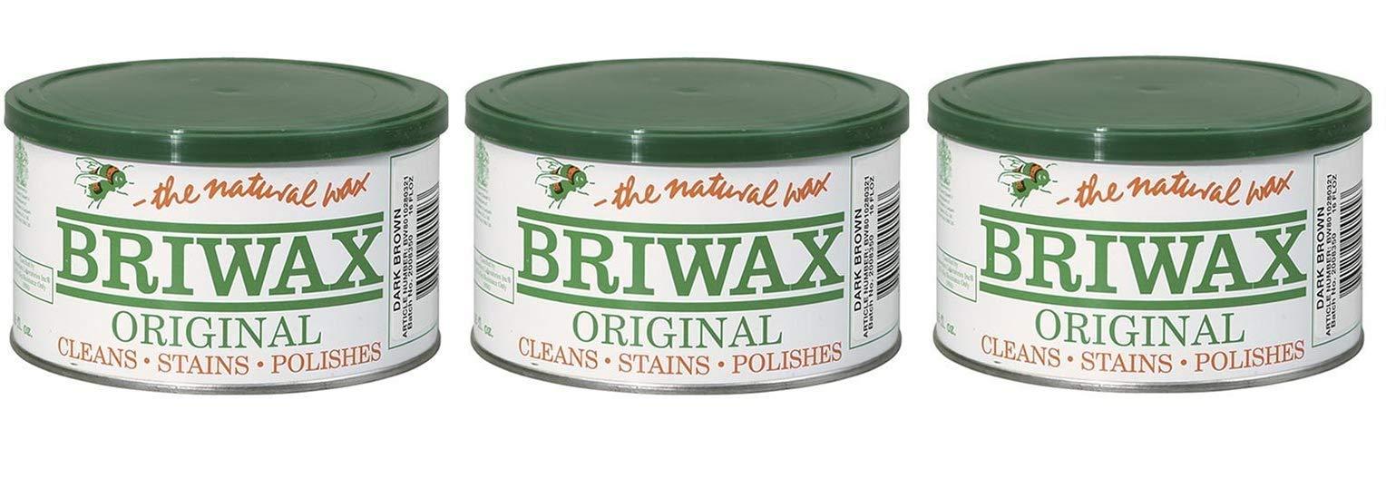 Briwax Darkbrown (Dark Brown) Furniture Wax, Cleans, Stains, and Polishes (Тhree Pаck)