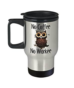 amazon no coffee no workee funny coffee beanカップフクロウ14オンス