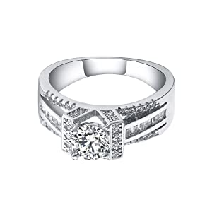 Women's Evening Wedding Bridal Engagement Sterling Silver Cubic Zirconia CZ Ring US 6.7.8.9