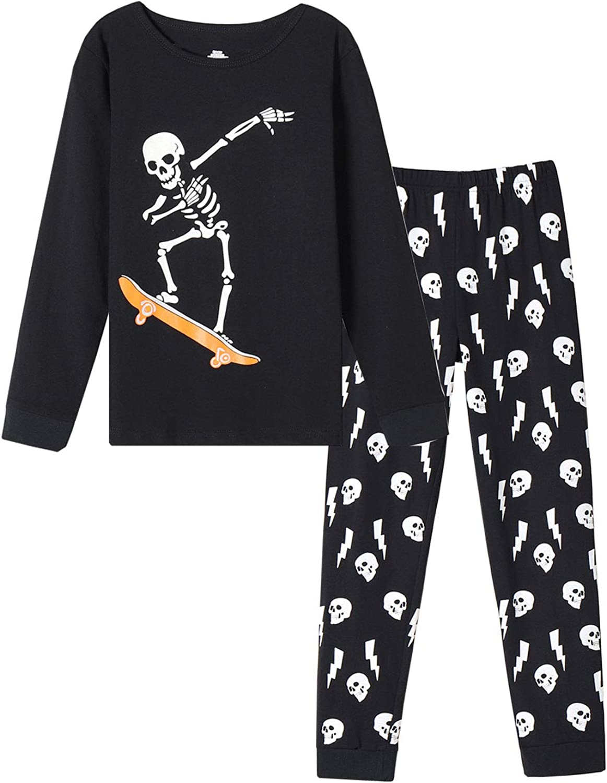 MyFav Boys Pajama Glow in Dark Skull Pjs Cotton Long Sleeve Casual Snug Fit Sleepwear