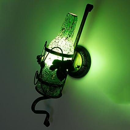 KMYX Vidrio coloreado Botella de vino Lámpara de pared Bar Ktv Romántico Luces de pared Faroles