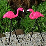 Fiddlehead Fairy Garden Retro Flamingo Picks (Set of 2) Assorted #16813