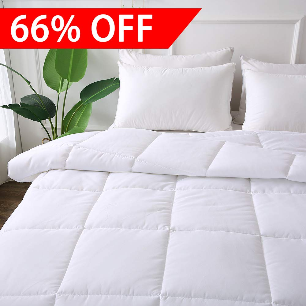 DECROOM Clearance Sale,White Comforter Twin Size,Down Alternative Quilted Duvet Insert,3M Moisture-wicking Treament,Light Weight Soft and Hypoallergenic for All Season
