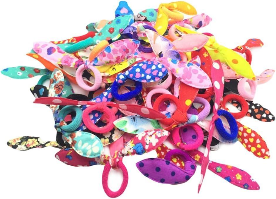 Gespout Cintas para Pelo Cuerda Coletero Goma Elastico Hair Rope Headband para Bebé Niña Niños Mujeres Tiara de Peinado Cola de Caballo Infantil Escuela Estudiante Elegante y Encantador 100pcs