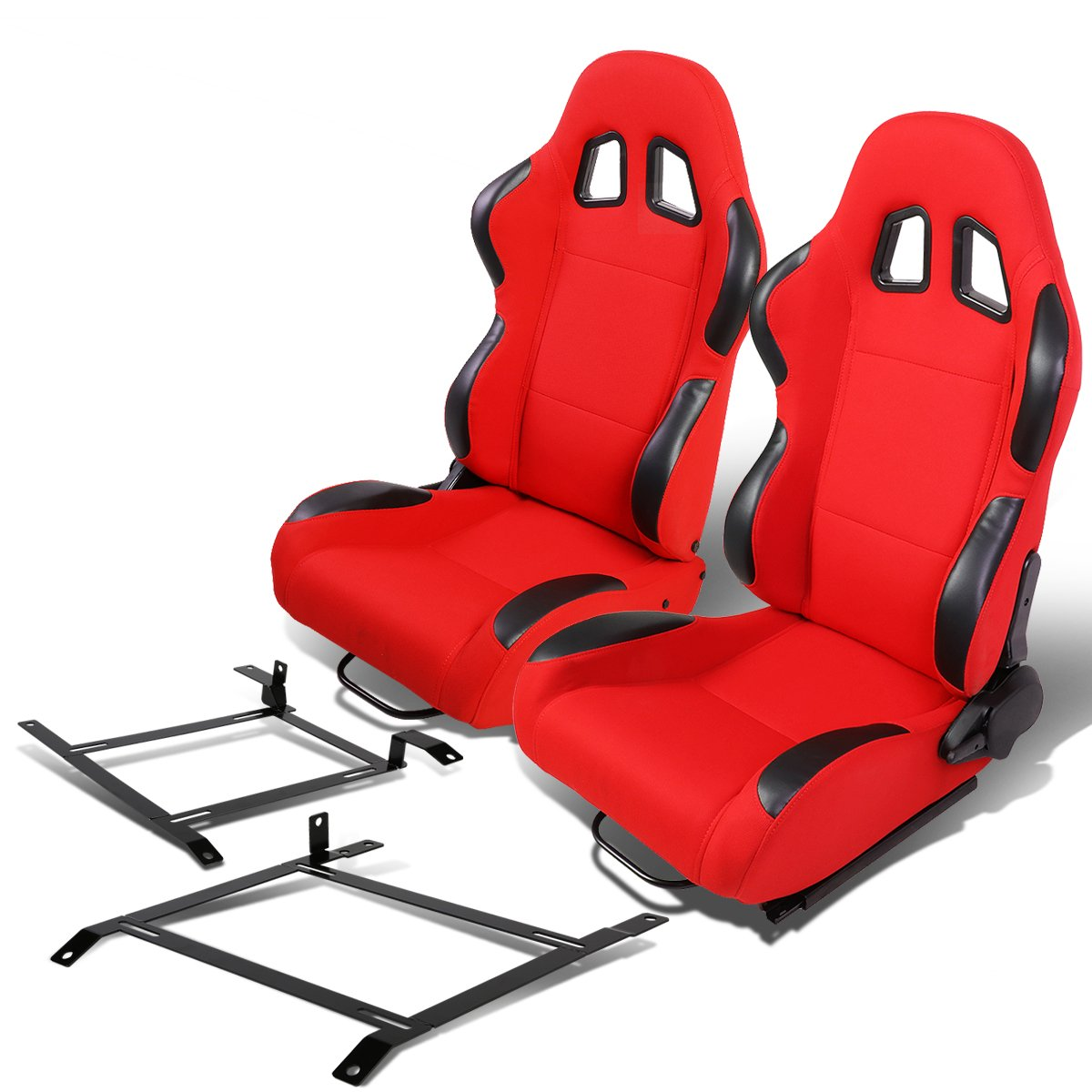 Pair of RS-001-BK-RD Woven Fabric Reclinable Racing Seat+Bracket for Nissan 350Z Auto Dynasty