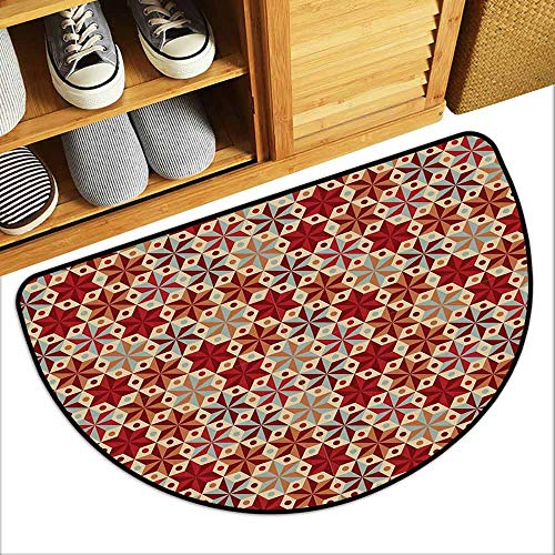 DILITECK Bedroom Doormat Red and Brown Abstract Anise Stars Pattern in Warm Retro Colors with Dots Geometric Design Breathability W30 xL18 Multicolor