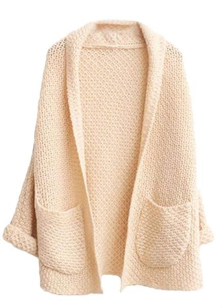 92b6668688009 Cardigan Mujer Elegantes Moda Sweater Otoño con Bolsillos Color Sólido  Manga Larga Anchos Casual Clásico Jerseys Jerseys Lana Chaqueta Outerwear  Outwear ...