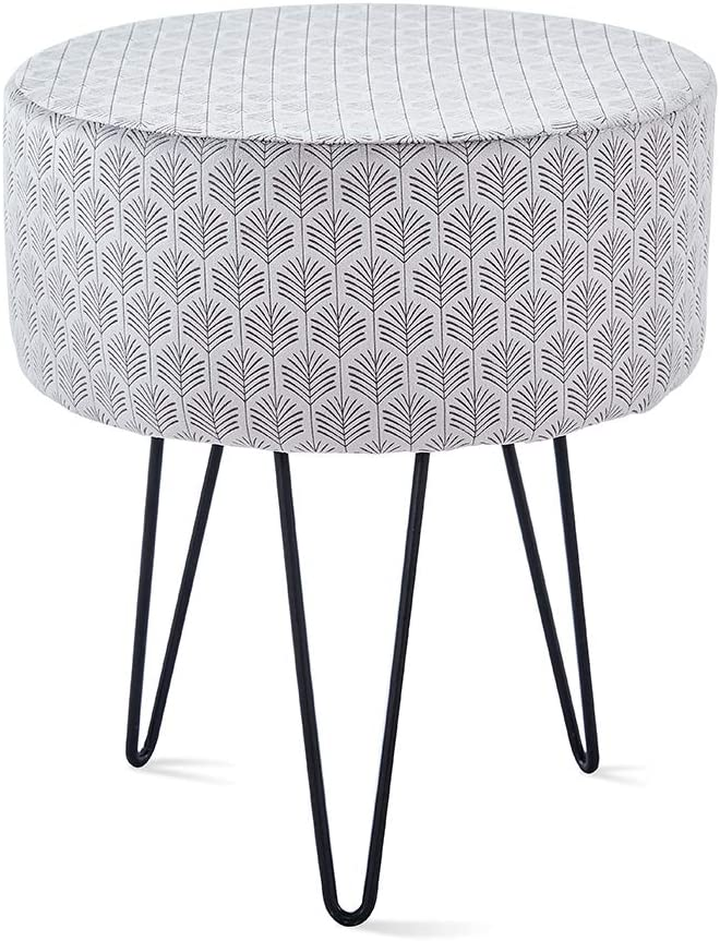 Mxfurhawa Grey Velvet Round Footrest Stool Ottoman Solid Wood Modern Upholstered VanityStoolSide Table Seat Dressing Chair for Bedroom Living Room with Black Metal Leg