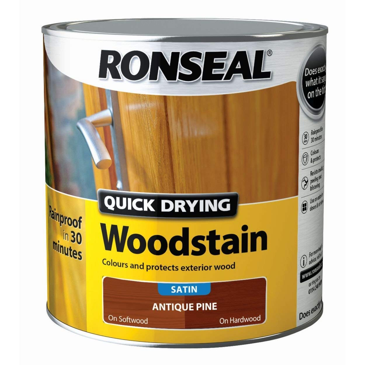 Ronseal Quick Drying Woodstain Satin Antique Pine 750ml 08736