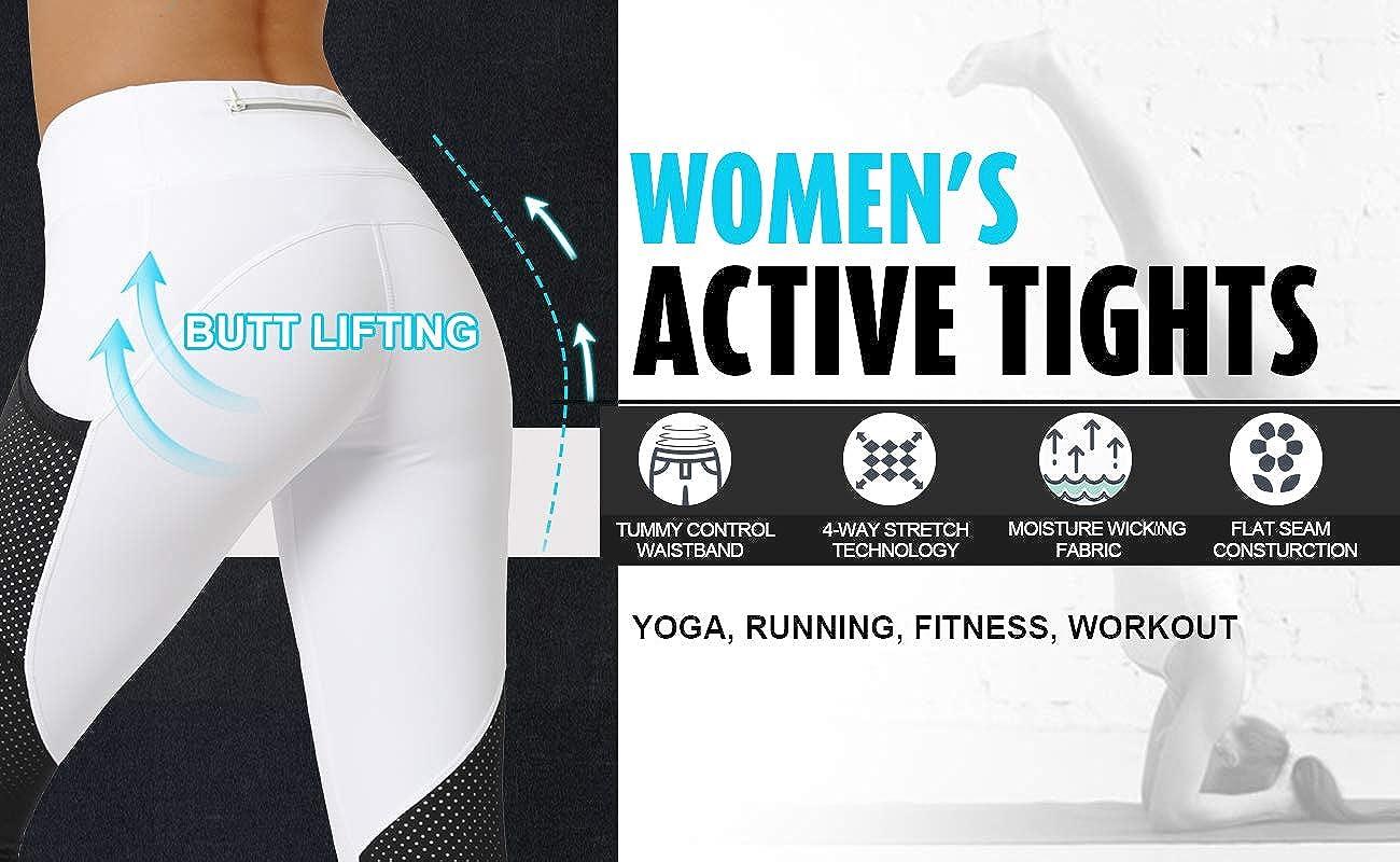 Cityoung Yoga Capri Pants 22 Workout Running Leggings Power Flex for Women Active Tights