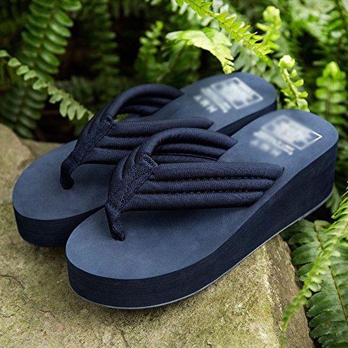 Tide Suola Indossare 38 navy Blu Spessa Fashion Aumentato Infradito Slipper Pantofole Antiscivolo Sand Summer Tide con Comode Beach HFtRqwnxvp