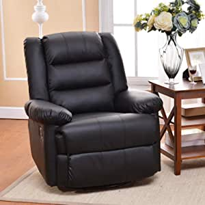 Soges Luxurious 360 Degree Swivel Rocking Recliner Leather Chair Black Lounge Sofa Home Theatre Chair Living Room Chair, Black 501-BK-S