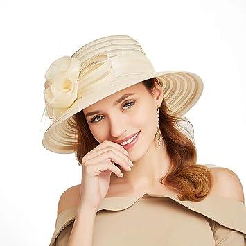 34c27f339585 Straw Hat For Women, AOLVO Wide Brim Sun Beach Cloche Hat Adjustable Floral  Fashionable Elegant