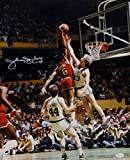 Julius Erving Autographed 76ers 16x20 Dunking On Bird Photo- JSA Witnessed Auth