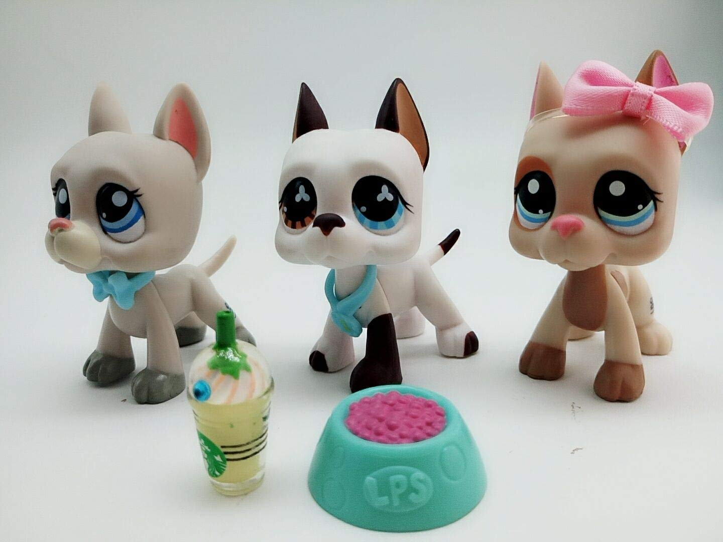 lps Great Dane Dog 3pcs Lot, Lovely Kids lp Puppy #1688#1647#750 lps Great Dane Dog Tan and Brown Blue Eyes White and Orange Eyes Rare Figures