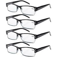 Eyekepper 4-pack Spring Hinges Rectangular Reading Glasses Black +1.25