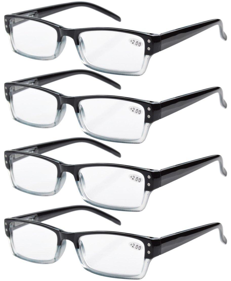 ee107f574ed Eyekepper 4-pack Spring Hinges Rectangular Reading Glasses Readers Black  +0.75  Amazon.com.au  Health   Personal Care